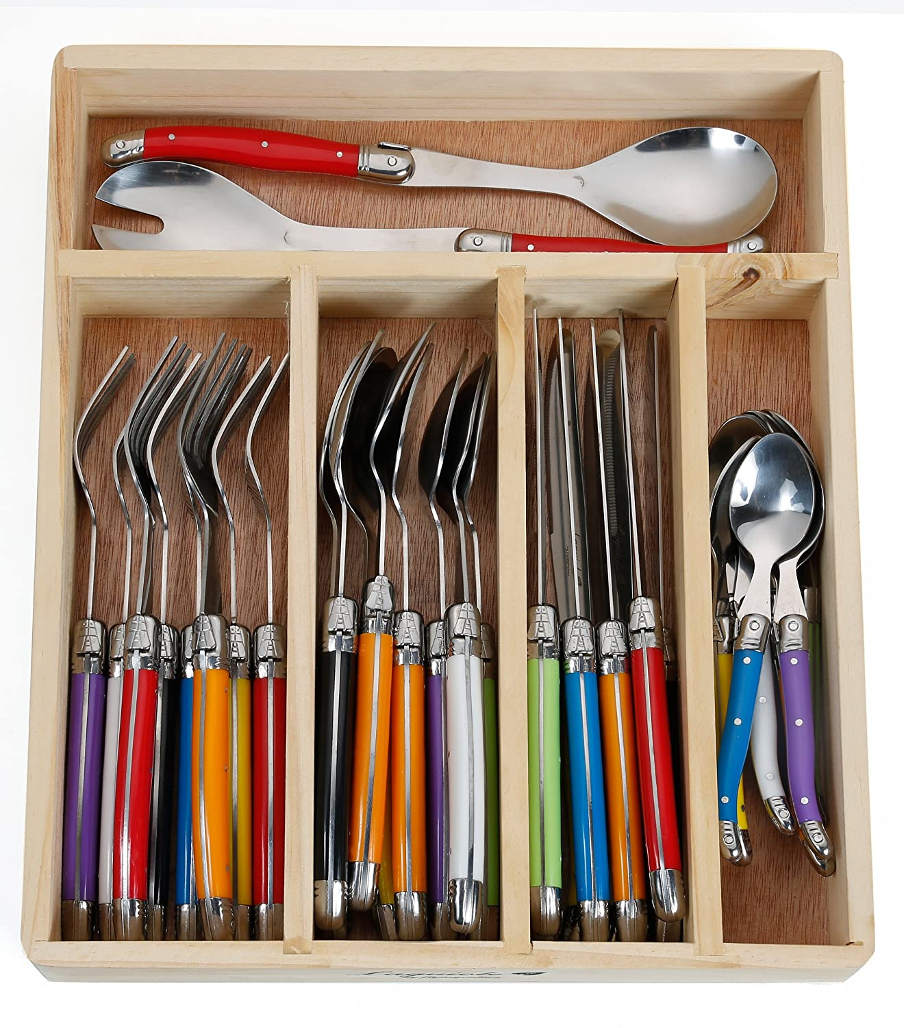 Amazon.com | FlyingColors Laguiole Stainless Steel Flatware Set. Multicolor  Handles, Wooden Storage Box, 34 Pieces: Flatware Sets