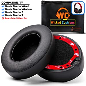 WC Premium Beats Studio Replacement Ear Pads by Wicked Cushions - Fits Studio 3 Wireless & Studio 2 Wired/Wireless - Memory Foam Adapts to Your Ears | Flawless Installation with Upgraded Adhesive