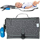 Portable Changing Pad Nappy Clutch Baby Changing Station with Dispenser and 20 Disposable Bags Extra Head Cushion Great…