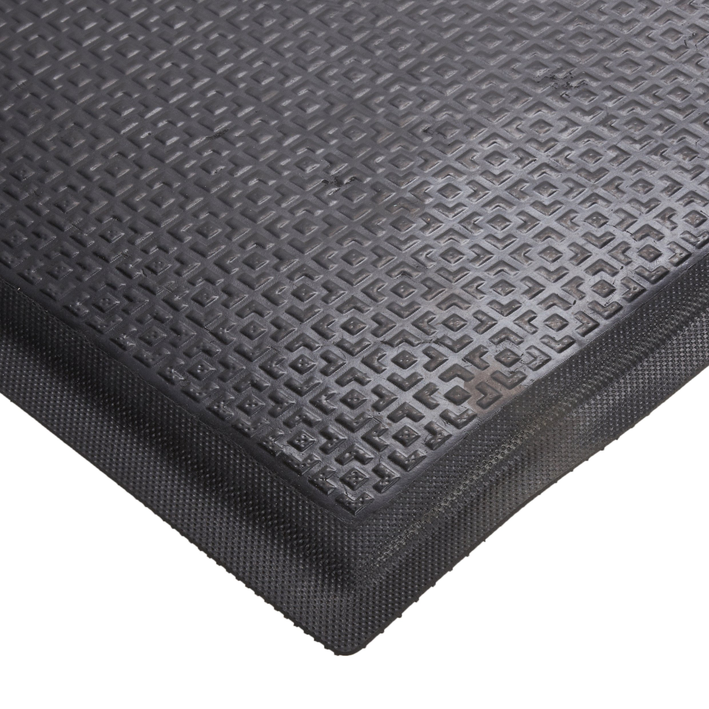 M+A Matting 465 Happy Feet Nitrile Rubber Texture Surface Anti-Fatigue Interior Floor Mat with Black Border, 3' Length x 2' Width, 1/2'' Thick