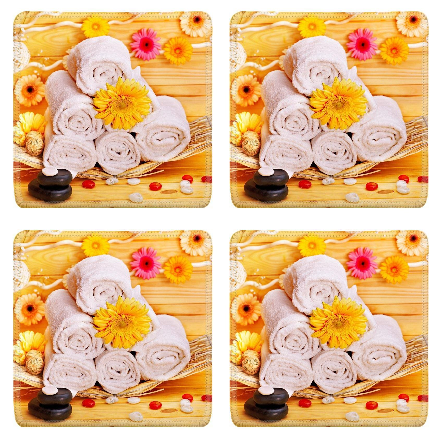 Liili Square Coasters Non-Slip Natural Rubber Desk Pads IMAGE ID: 16103644 Spa still life with towel and stone in wood spa