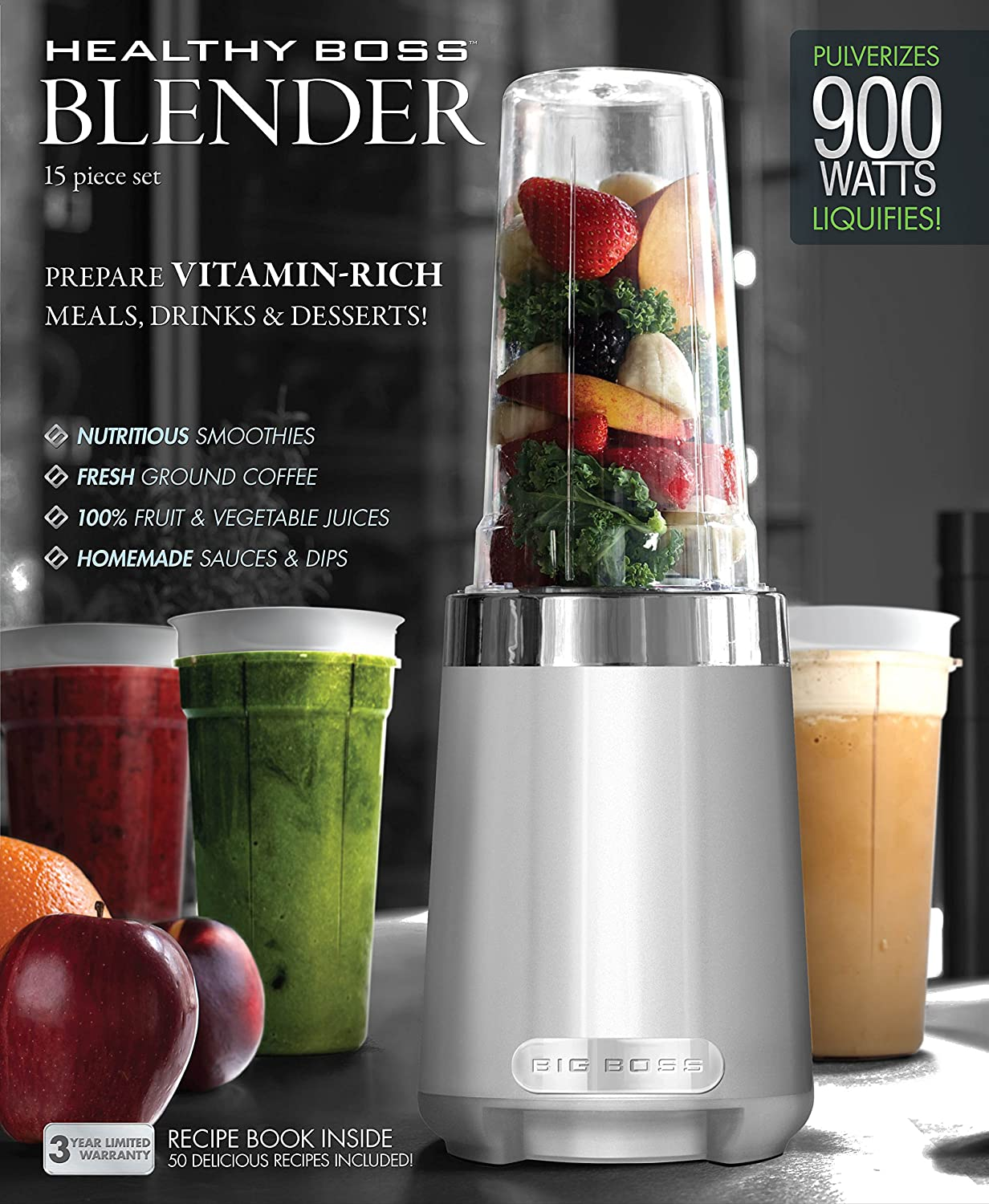 Big Boss 9510 15-Piece Healthy Boss Blender, 900-watt, Silver