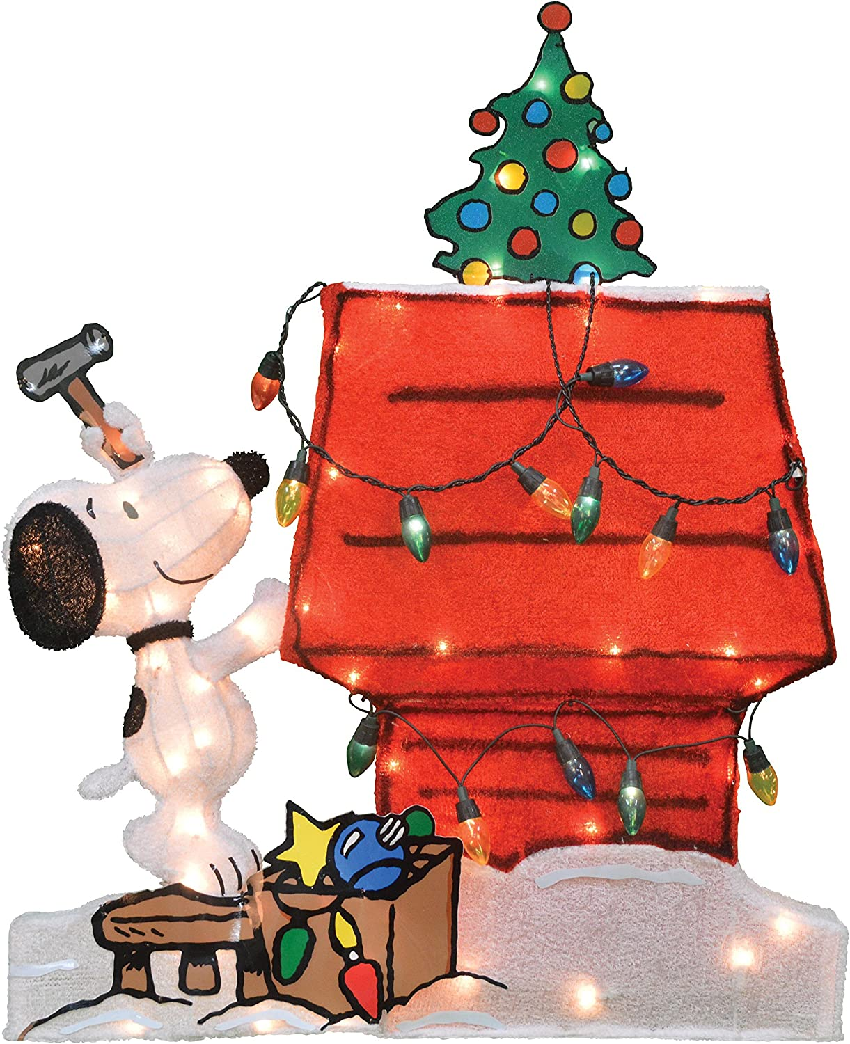 ProductWorks 70306_L2D Peanuts Christmas Outdoor Décor, Snoopy Decorating Dog House