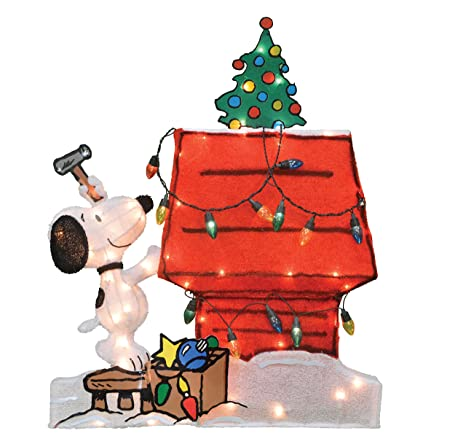 productworks 32 inch pre lit peanuts snoopy doghouse christmas yard decoration 70 lights