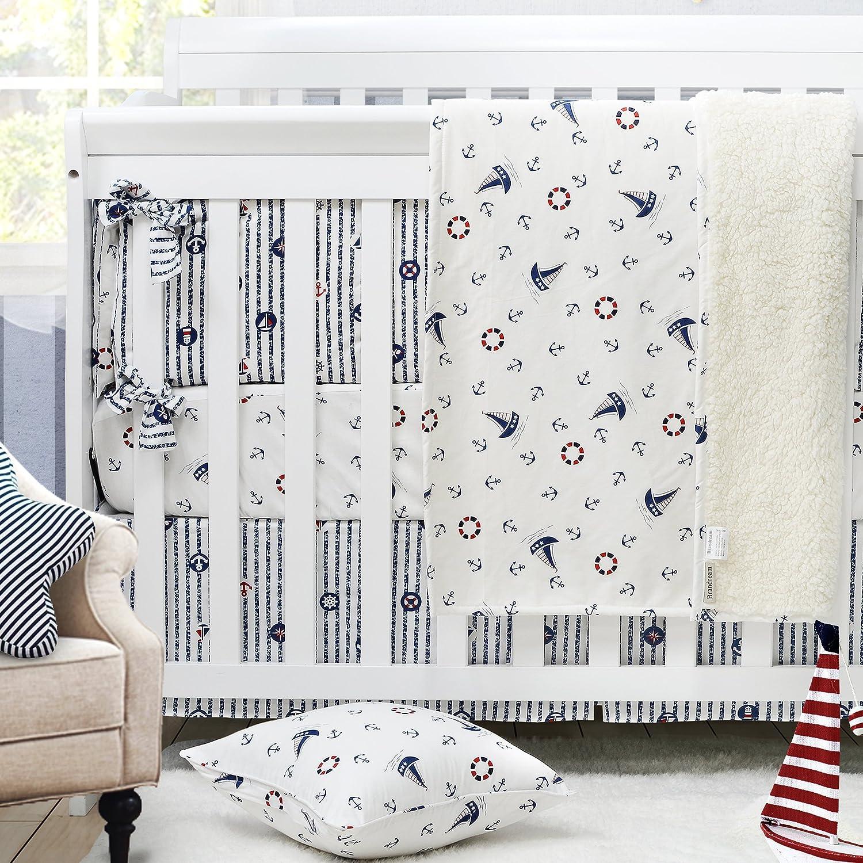 Brandream Nautical Bedding of Baby Boy Crib Bedding Set Ocean Anchor Pattern Nursery Crib Bedding Set, White & Navy Blue, 4 Pieces