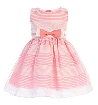 30256f230c835 Amazon.com: Lito Girls Easter Dress - Girls Striped Organza Spring Dress -  Baby Girls Easter Dress - Toddler Easter Dress: Clothing