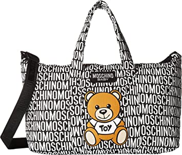 66d1969b89 Amazon.com : Moschino Kids Unisex Logo Print Teddy Bear Diaper Bag w/ Changing  Mat Black One Size : Baby