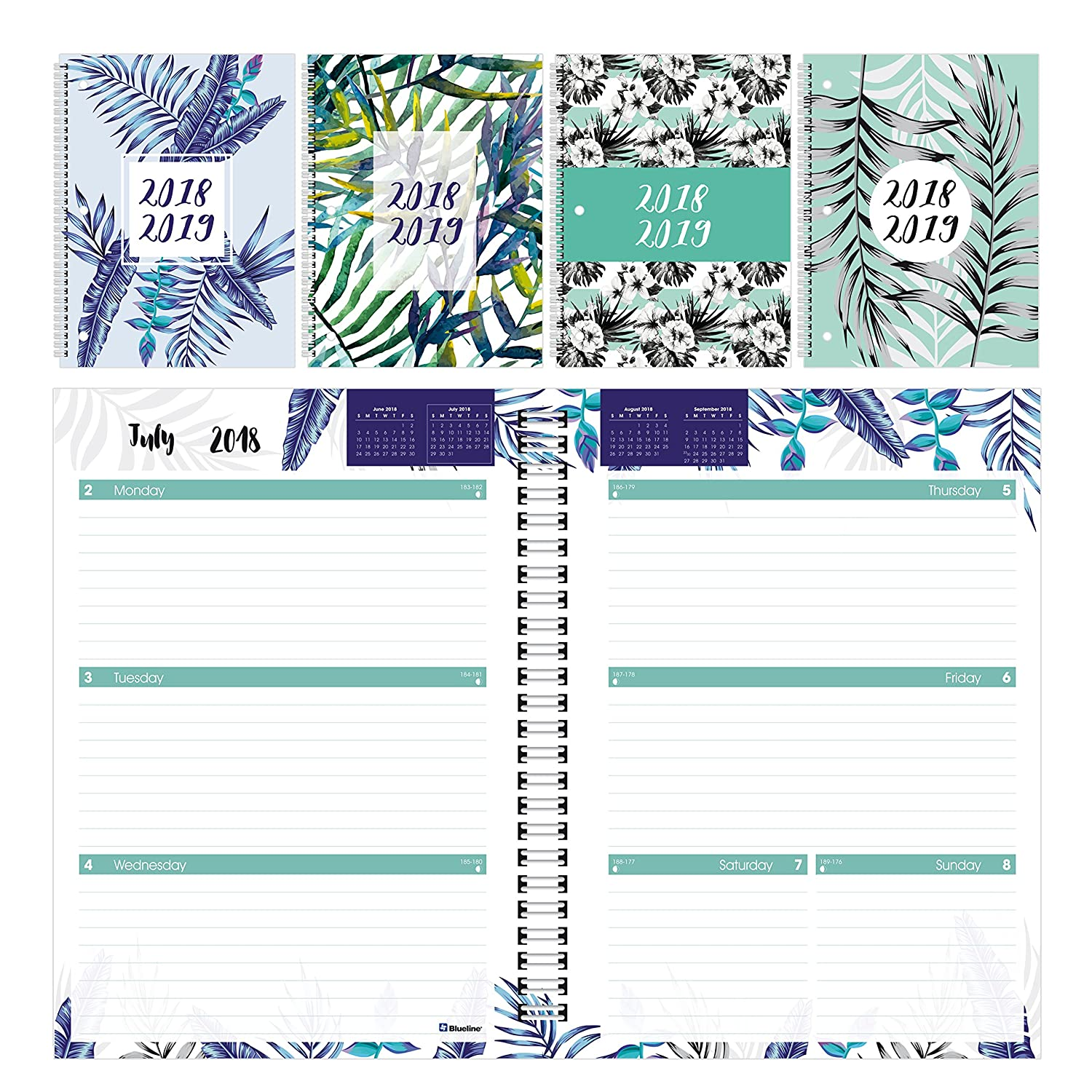 Brownline 2018-2019 Weekly/Monthly Academic Planner, Tropical Designs, 10.25x7.625, July to July, Assorted Designs, English (CA859PT.ASX-2019) 10.25x7.625 Blueline Canada CA859PT.ASX-19