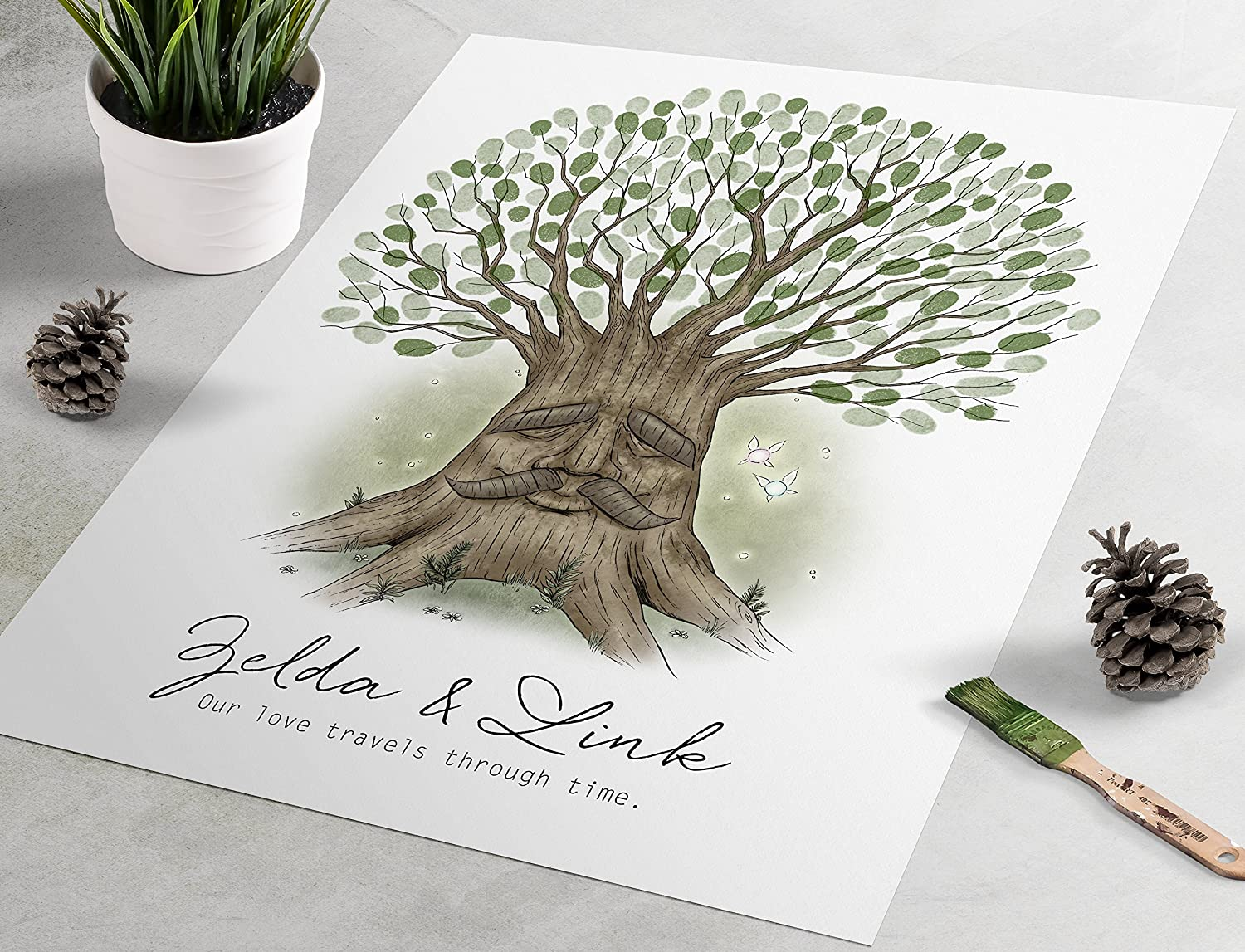 Legend of Zelda Wedding Guest Book: Deku Tree fingerprint guest book, fingerprint tree, thumbprint tree, nerdy guestbook alternative