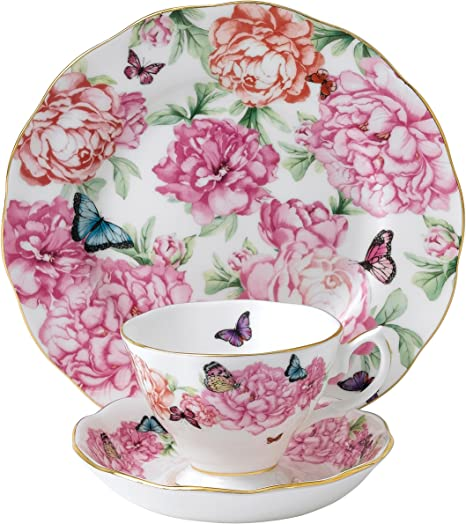 Amazon Com Royal Albert Gratitude 3 Piece Teacup Saucer And Plate Set Designed By Miranda Kerr Teacups