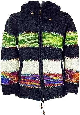 Ponchos Alternative Bekleidung Strickjacken Guru-Shop Strickjacke Wolljacke Nepaljacke Wolle Jacken Herren