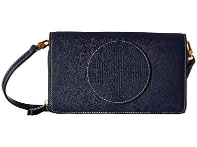 81adf117d8fe Image Unavailable. Image not available for. Color  Tory Burch Perforated  Logo Flat Leather Crossbody Wallet ...