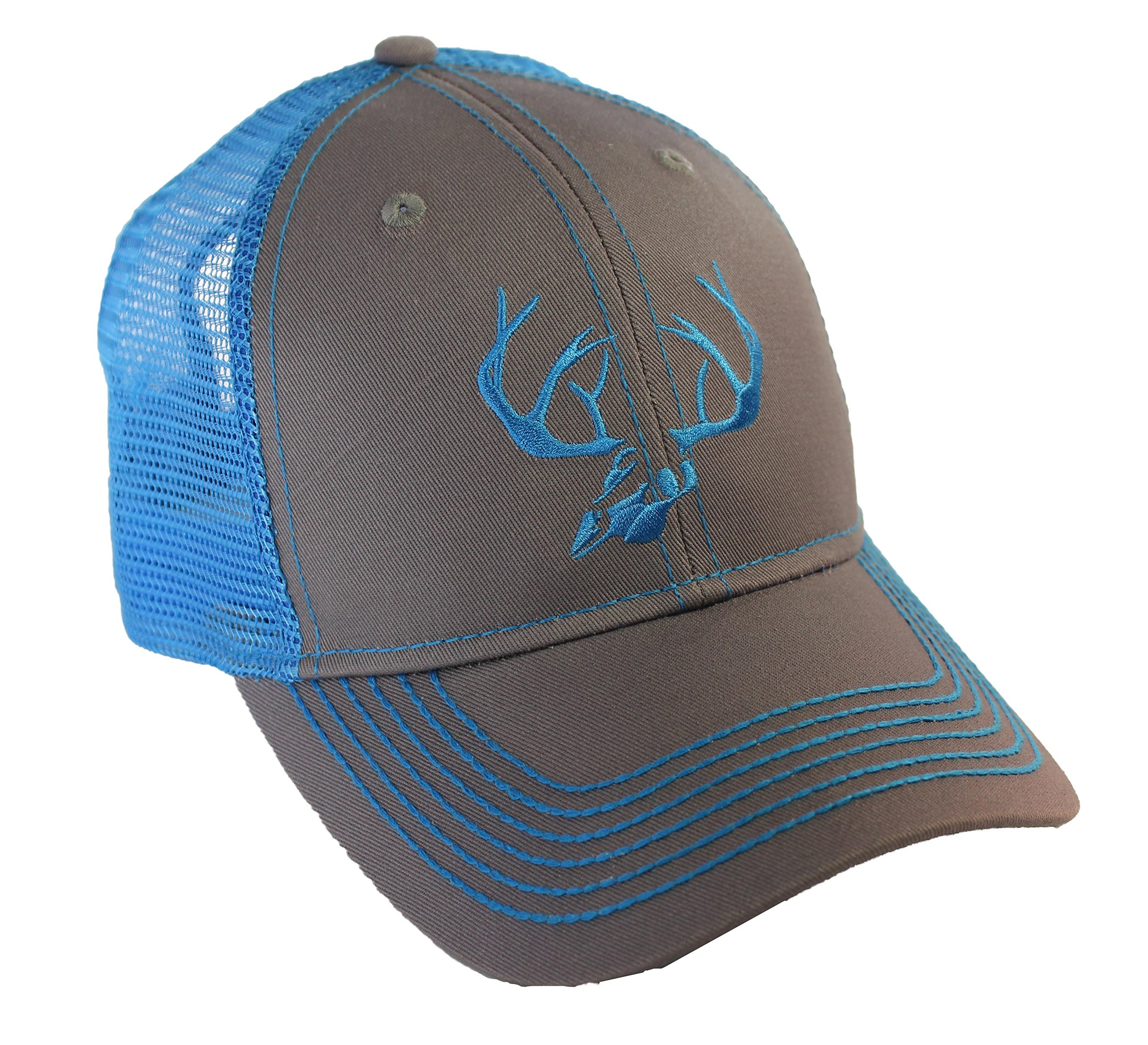BT Outdoors Deer Skull Antlers Truckers Cap Blue Mesh Back Deer Skull Hat