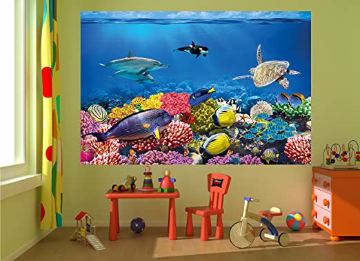 Amazon com wall mural aquarium mural decoration colourful underwater world sea dweller ocean fishes dolphin coral reef clownfish i paperhanging wallpaper