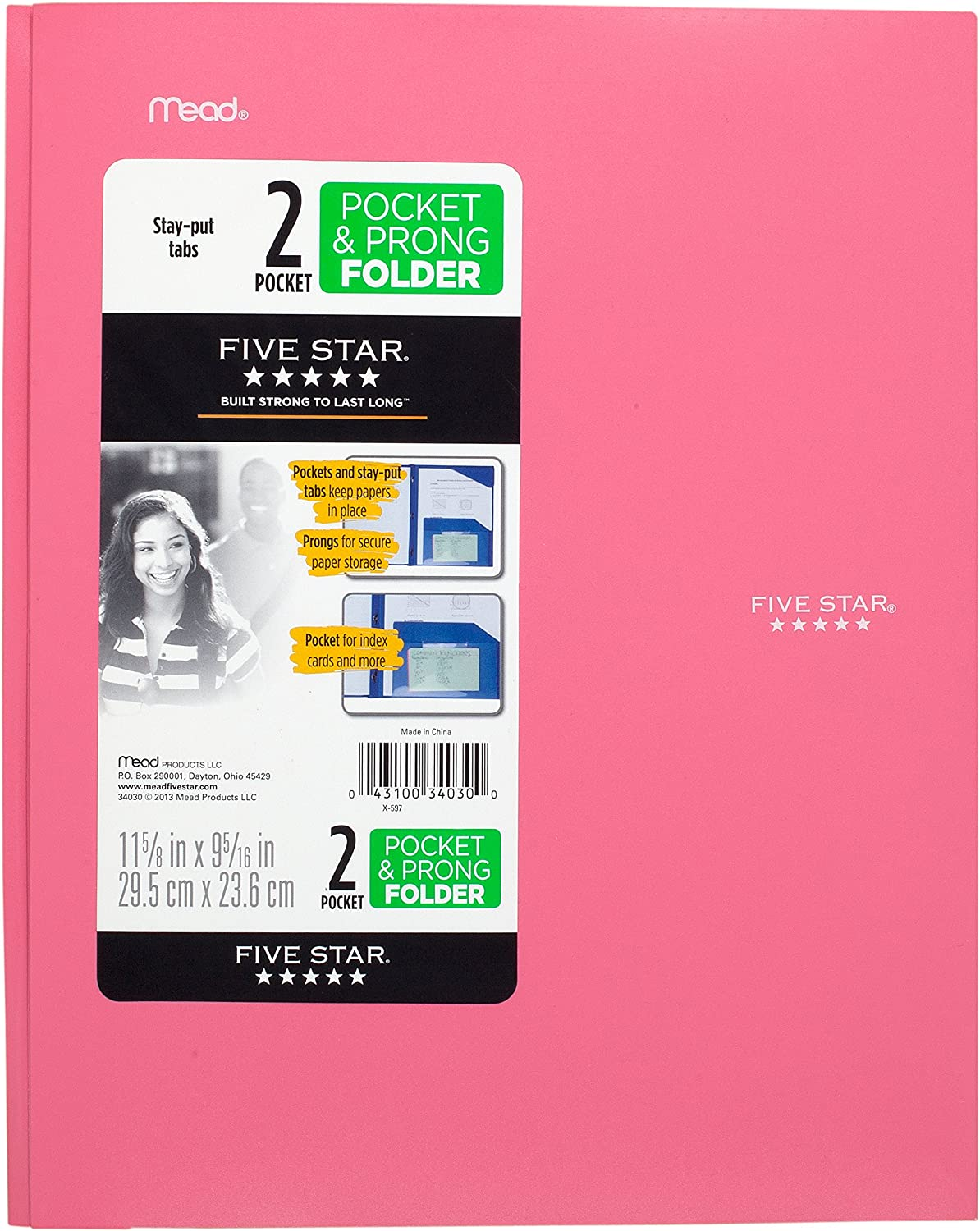 """Five Star 2-Pocket Folder, Stay-Put Folder, Plastic Colored Folders with Pockets & Prong Fasteners for 3-Ring Binders, For Home School Supplies & Home Office, 11"""" x 8-1/2"""", Pink (72105)"""