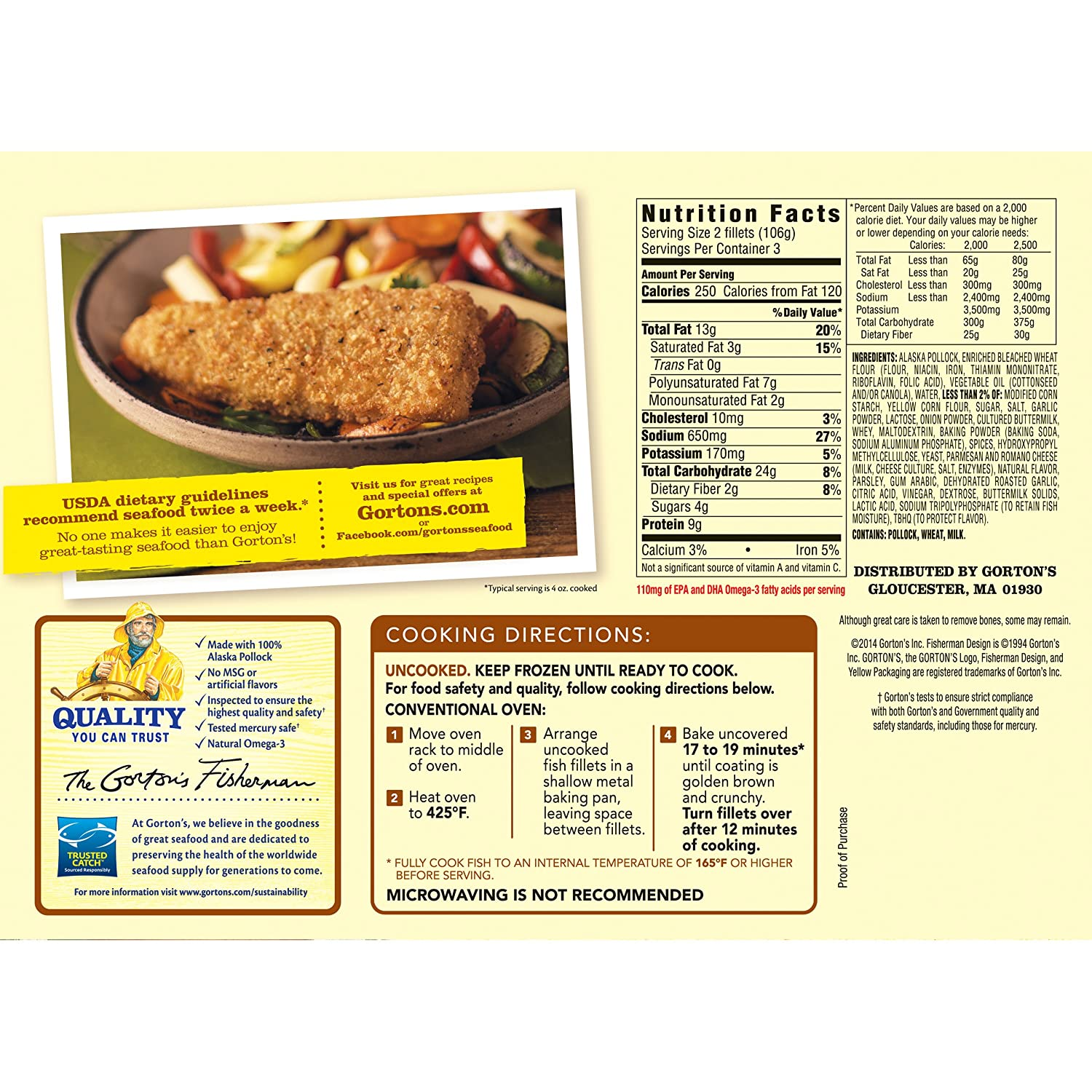 Gortons, Roasted Garlic & Italian Herb Artisan Fish Fillets, 11 oz (Frozen): Amazon.com: Grocery & Gourmet Food