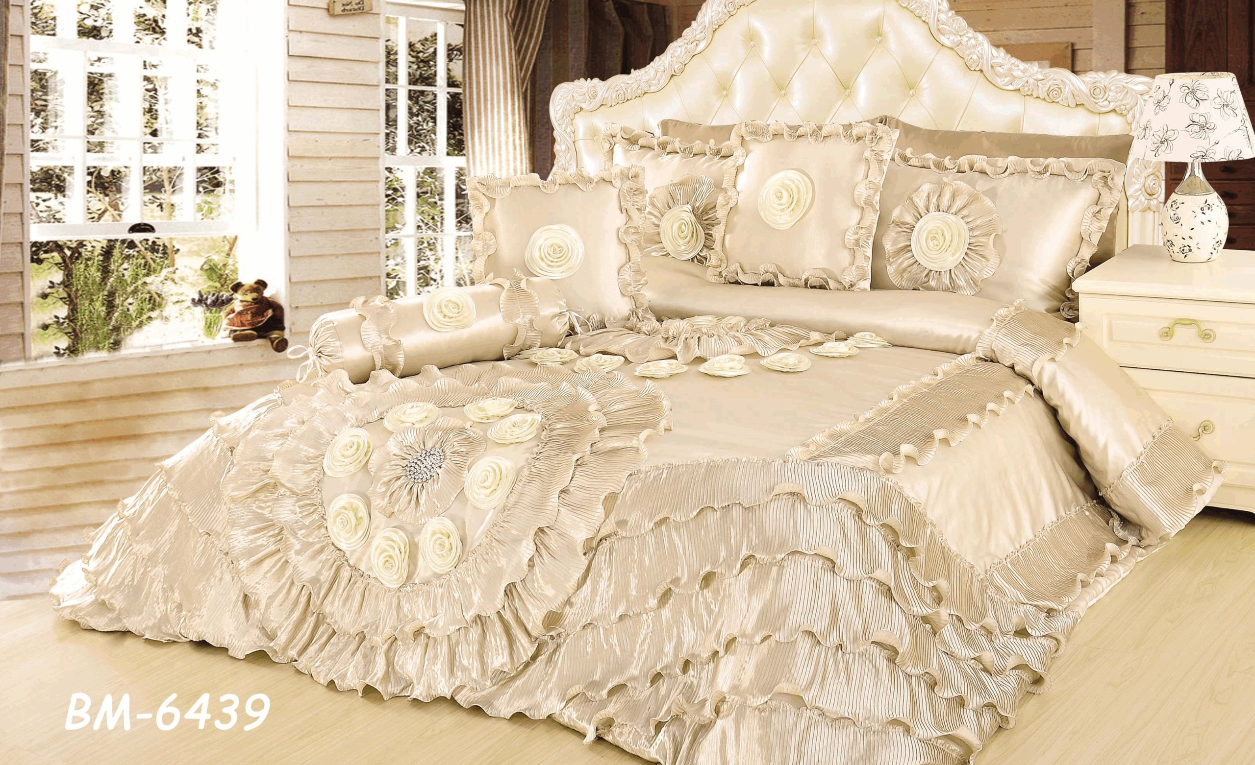 Tache 6 Piece Royal Wedding Chamber in Cream Faux Satin Sateen Comforter Set, California King by Tache Home Fashion