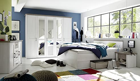 Schlafzimmer Komplett Set 5 Tlg. U0026quot;LUCAu0026quot; Bett 180 Schubkasten  Kleiderschrank 241