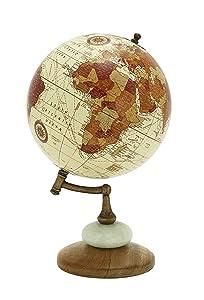 "Deco 79 94451 Wood Metal Marble Globe, 8"" x 13"""