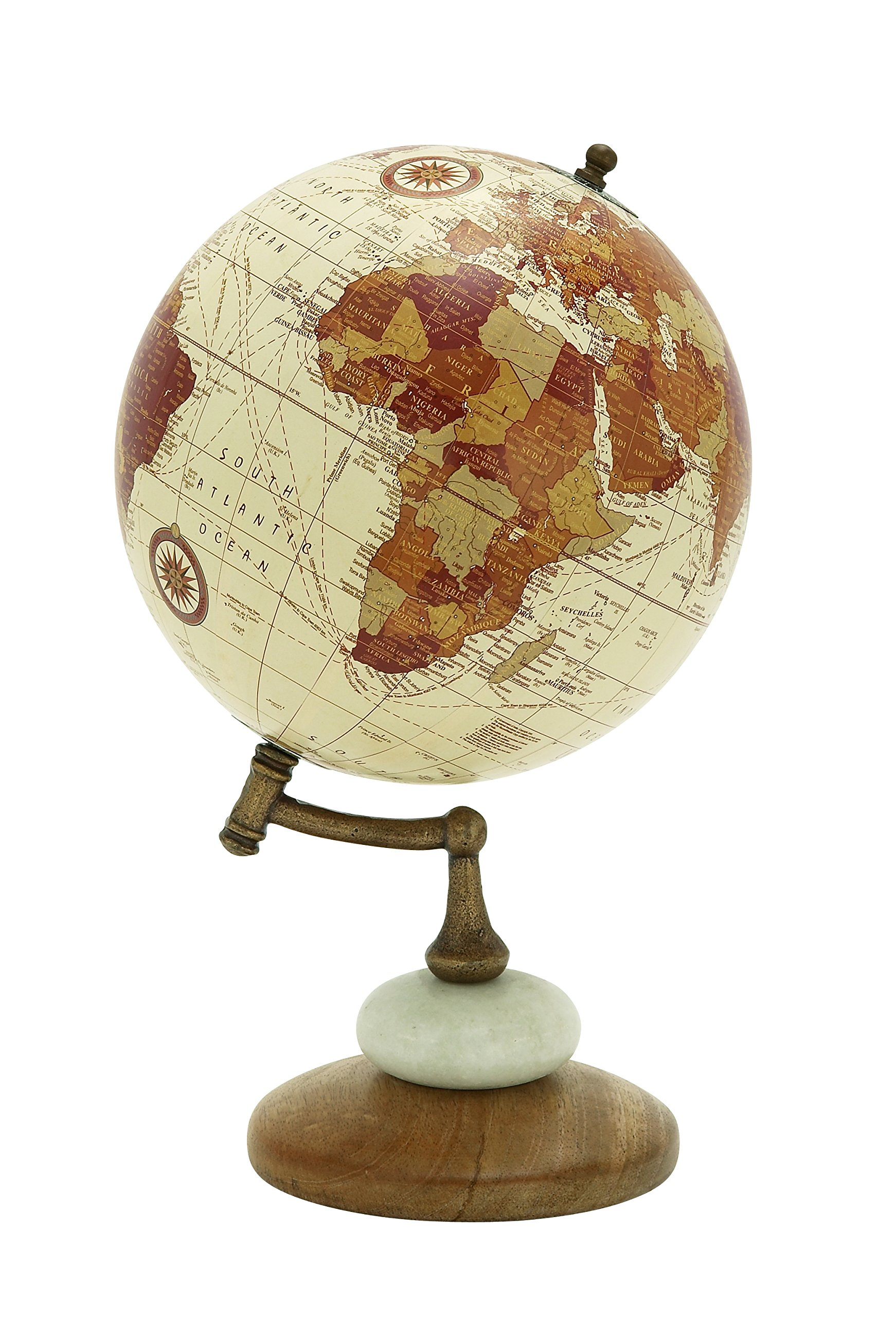 Deco 79 94451 Wood Metal Marble Globe, 8'' x 13''