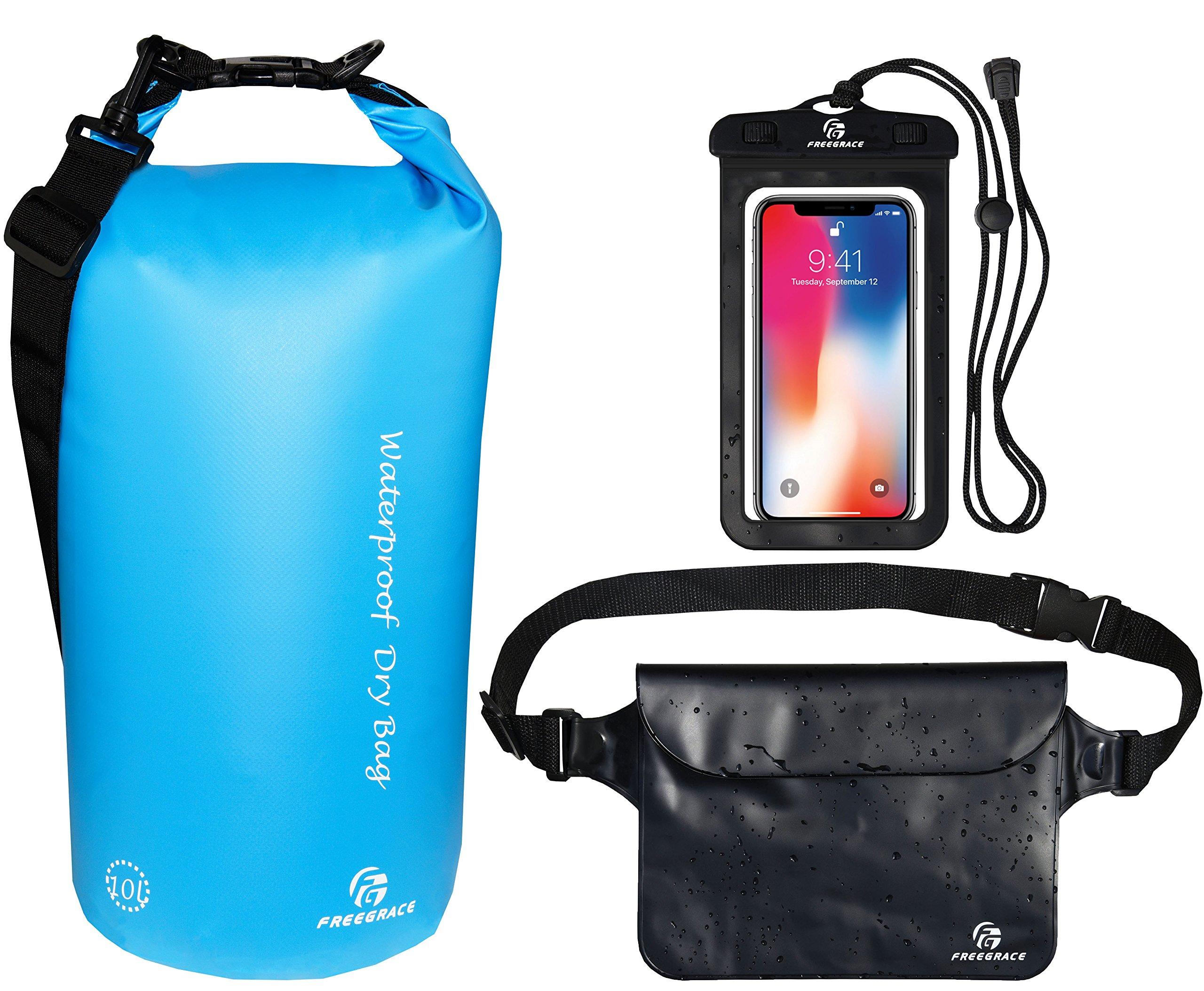 Freegrace Waterproof Dry Bags Set of 3 Dry Bag with 2 Zip Lock Seals & Detachable Shoulder Strap, Waist Pouch & Phone Case - Can Be Submerged Into Water (Sky Blue, 20L) by Freegrace