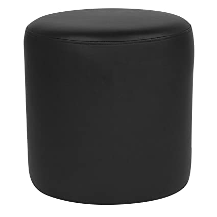 Stupendous Flash Furniture Barrington Upholstered Round Ottoman Pouf In Black Leather Uwap Interior Chair Design Uwaporg