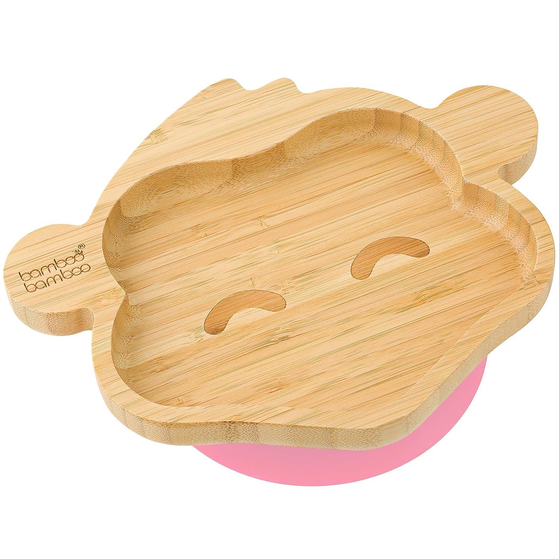 Teller mit Saugnapf Affenform aus nat/ürlichem Bambus F/ütterteller f/ür Baby // Kleinkind