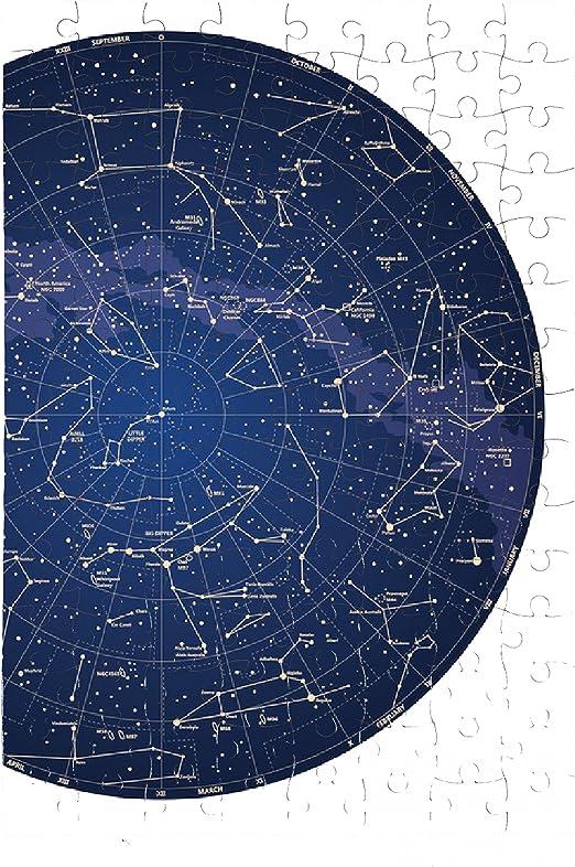 my-puzzle-design Puzzle Cielo detallado Mapa de Alta del hemisferio Norte con Nombres - A3 - 38cm x 26cm - 252 Piezas: Amazon.es: Juguetes y juegos