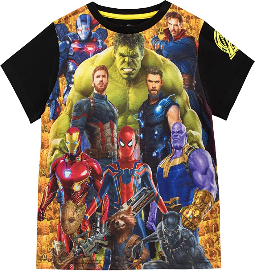 MARVEL The Avengers Official Boys Long Sleeve 100/% Cotton Top Turtle Neck T-Shirt with Large Characters Picture 3-10 Years