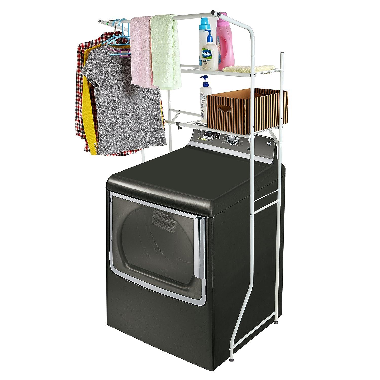 Width Adjustable 2-Shelf White Metal Space Saver Unit / Utility Storage Rack - MyGift TB-HOM0115WHT