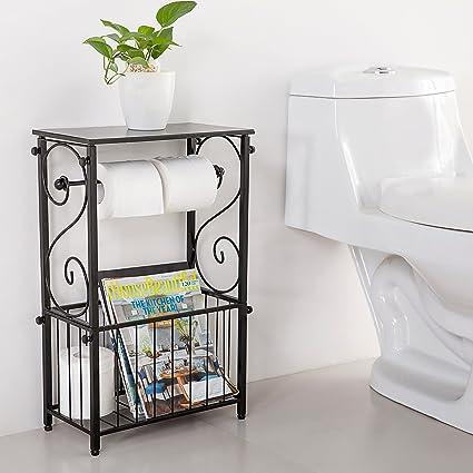 Amazon.com Metal Scroll Design Bathroom Storage Table Shelf with Toilet Paper Dispenser and Magazine Basket Home u0026 Kitchen  sc 1 st  Amazon.com & Amazon.com: Metal Scroll Design Bathroom Storage Table Shelf with ...