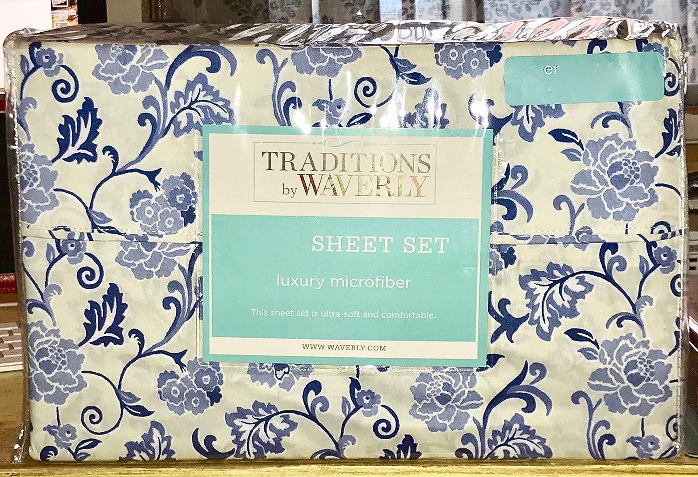 Amazon Com Waverly Blue Floral Vines Sheet Set King Size White