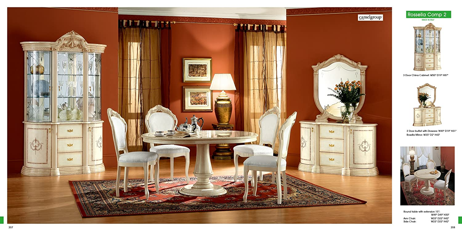 Amazon.com   ESF Rossella 5 Pieces Traditional Ivory Finish Classic Italian  Dining Room Set Comp 2   Table U0026 Chair Sets