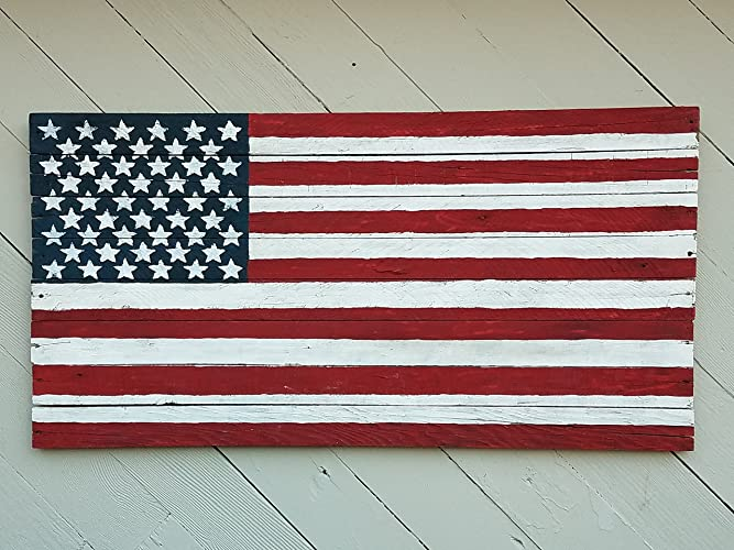 12 X 27 Inch Rustic Barn Wood American Flag Sign Memorial Day July 4th Decor