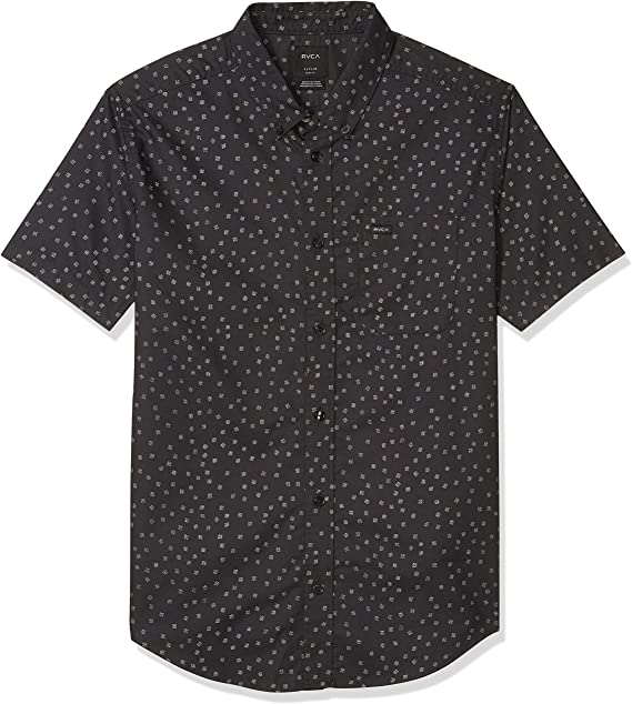 RVCA Mens Thatll Do Stretch Short Sleeve Woven Button Front Shirt