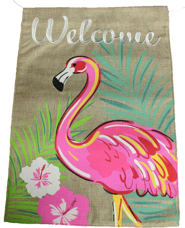 JEC Flamingo Garden Flag - Garden Welcome Flag - 12x18 Double Sided Burlap Tropical Palm Tree Home Garden Flag