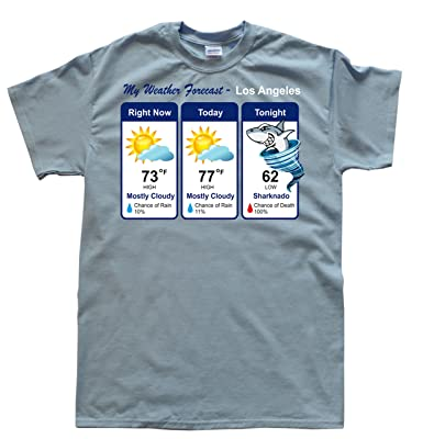b798576b JeKat Sharknado Weather Forecast Men's T-Shirt: Amazon.co.uk: Clothing