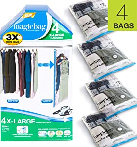 Smart Design MagicBag Instant Space Saver Storage - Hanging Extra Large Dress - Airtight Double Zipper - for Clothing, Pillows, More - Home Organization - 2 Bags (Pack of 2) [4 Bags Total]