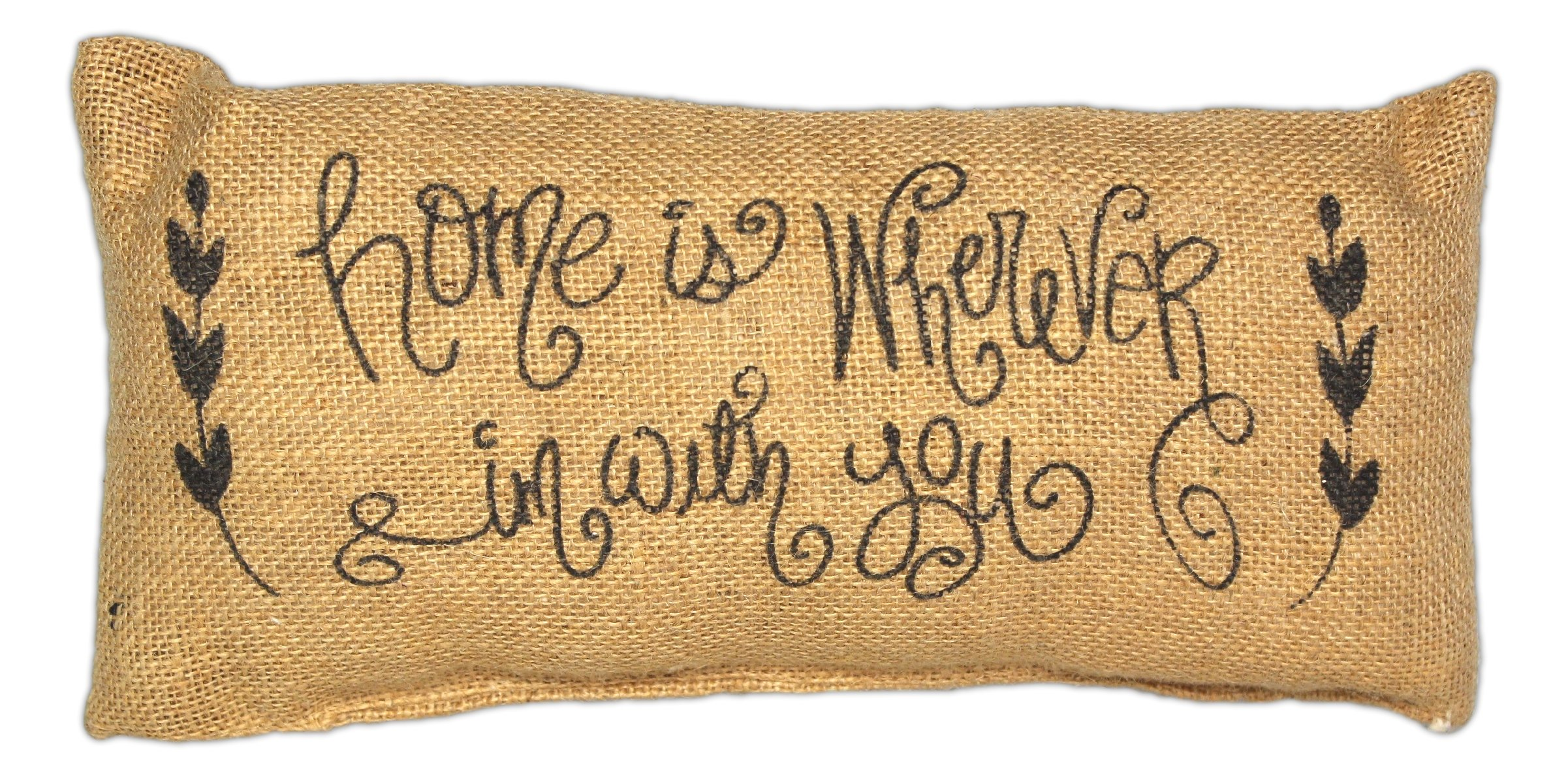 Country House Collection Primitive Burlap Jute 12'' x 6'' Throw Pillow (Home is Wherever I'm With You)
