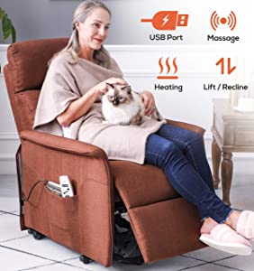 ERGOREAL Electric Lift Chair for Small Elderly People Fabric Lift Recliner