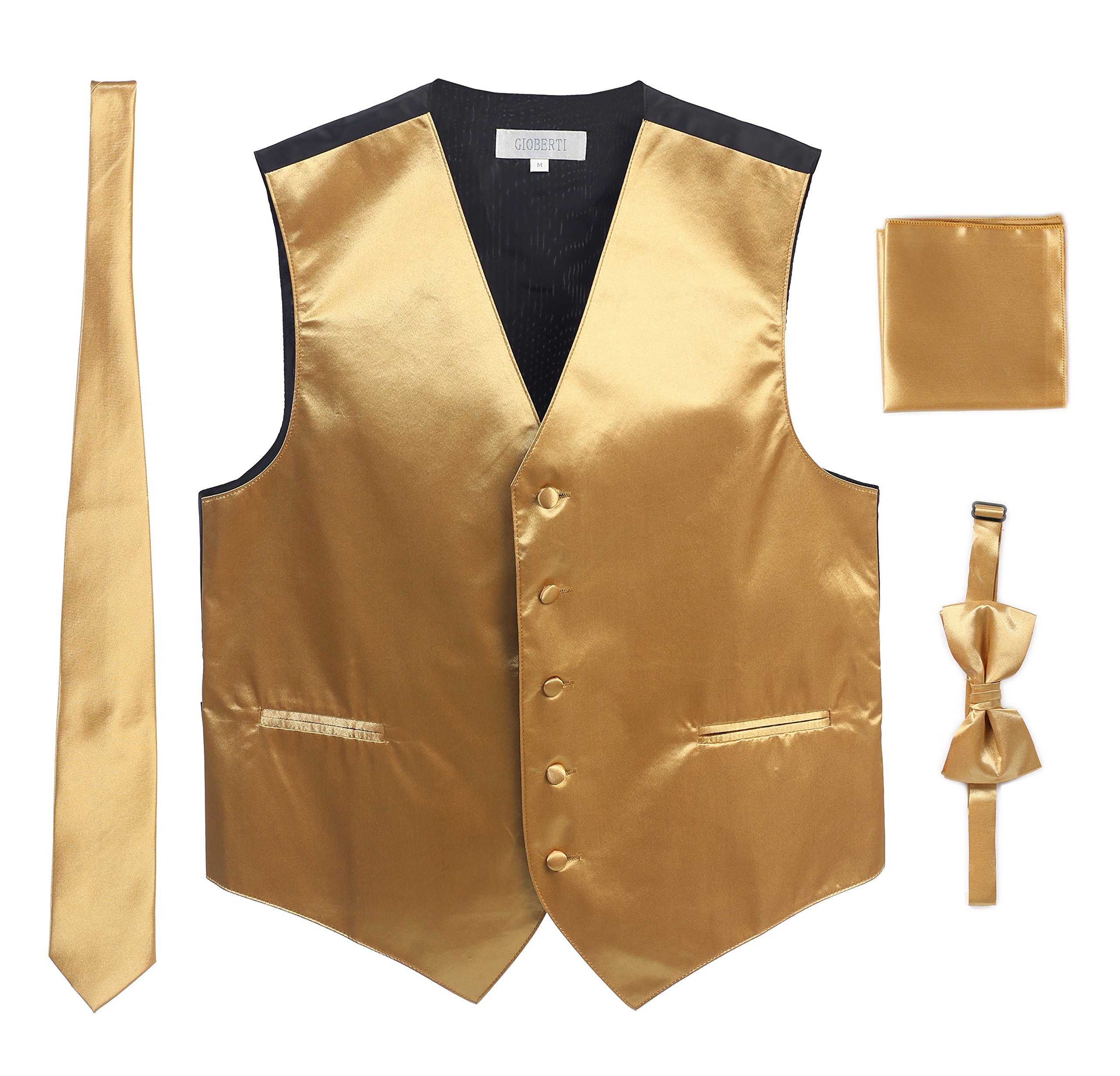 Men's Formal Vest Set, Bowtie, Tie, Pocket Square, Gold, Medium