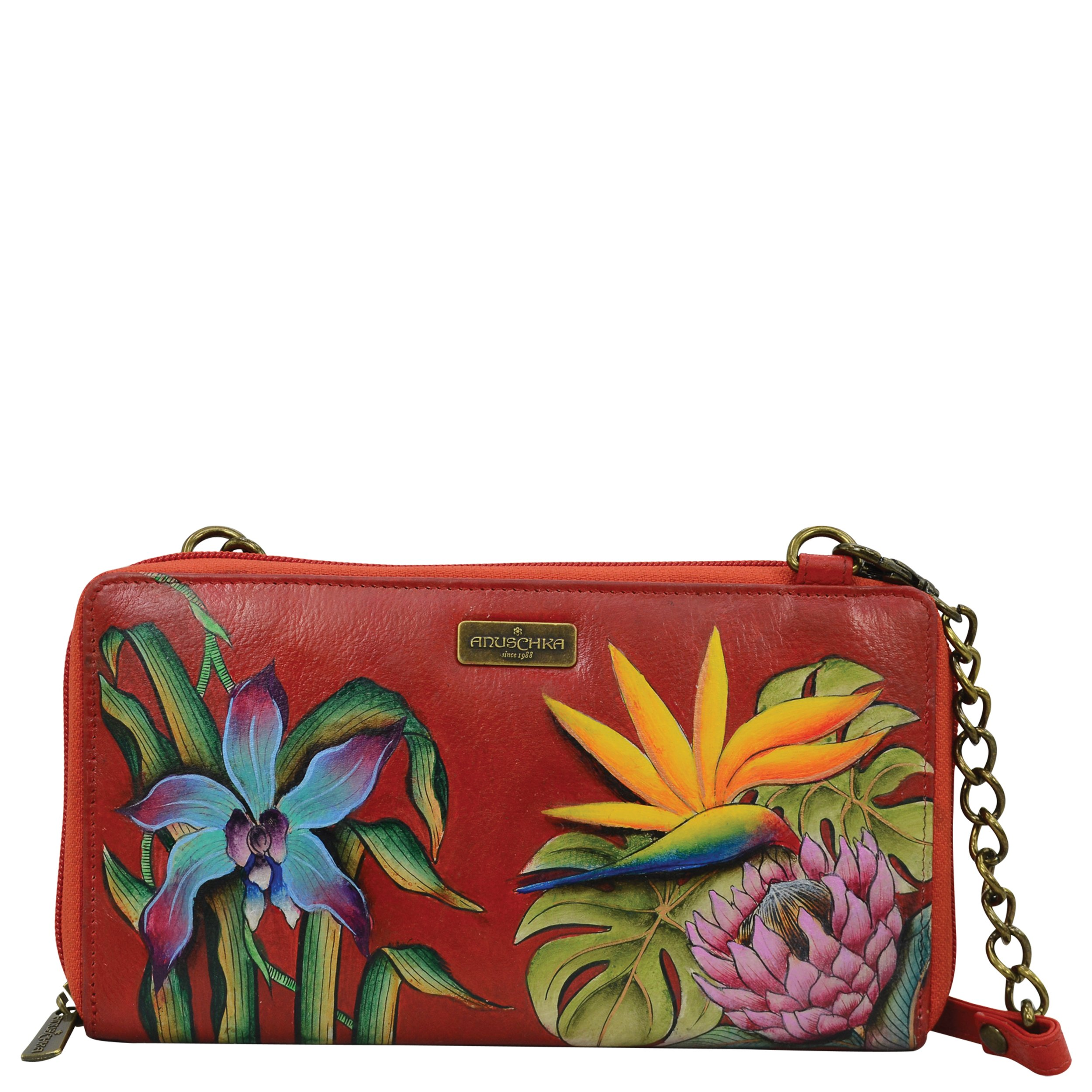 Anuschka Hand Painted Leather Women'S Zip Around Rfid Crossbody Clutch, Island Escape