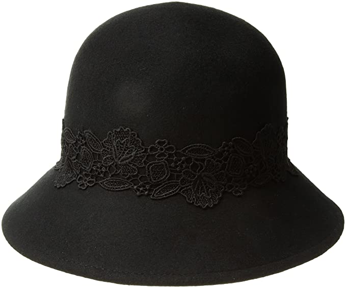 be96eb08 San Diego Hat Company Women's 2.5 Inch Brim Coche with Black Lace Trim, One  Size