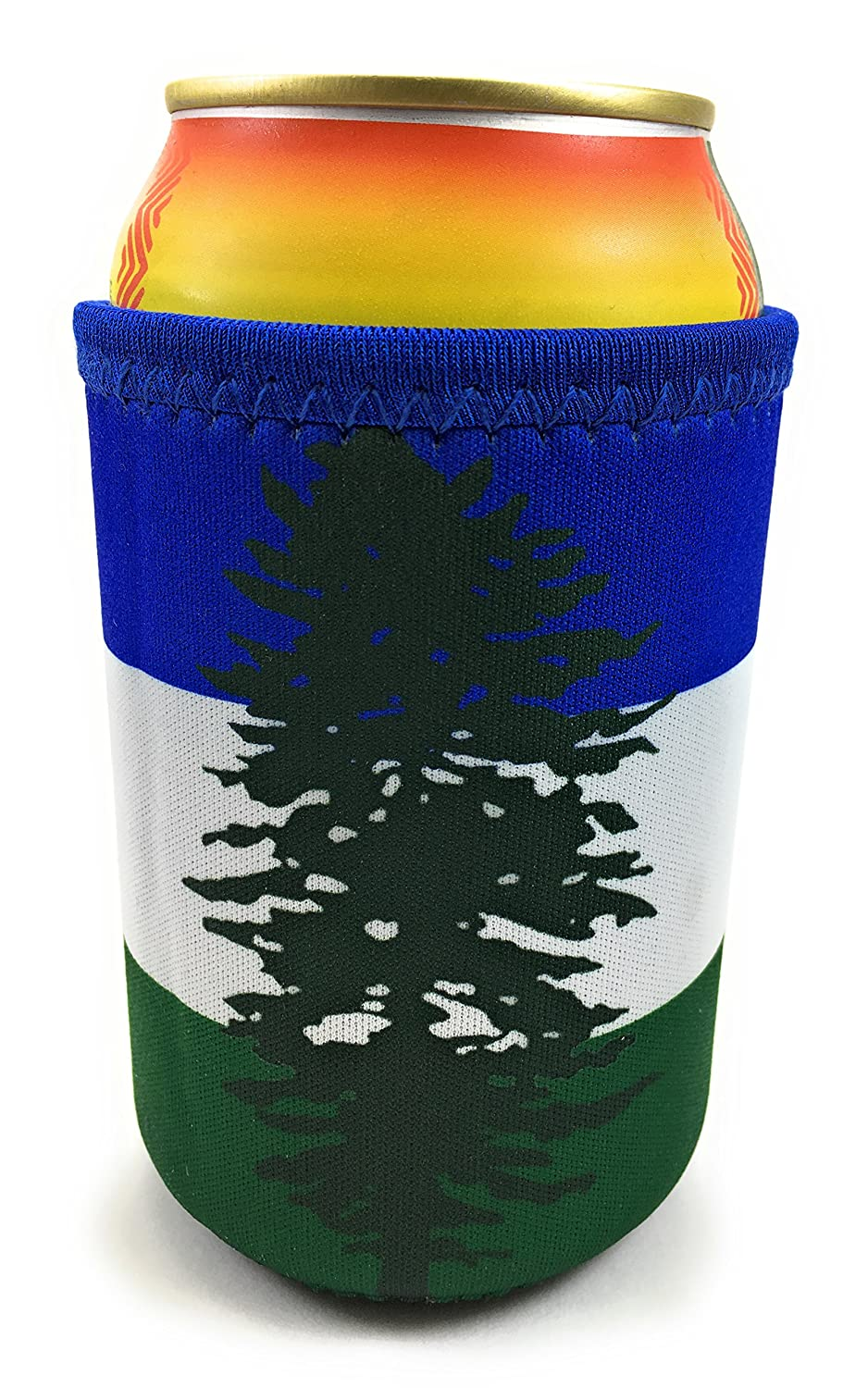 Cascadia Doug Neoprene Beverage Insulator Beer Can and Bottle Coolie - Great for PNW Soccer and Football Tailgating Sports Events - Green White & Blue Stripes with Fir Tree Flag SBF 50