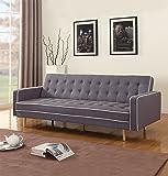 Mid-Century Modern Two Tone Vintage Linen Sleeper Futon Sofa, Grey, Beige, Red (Dark Grey)