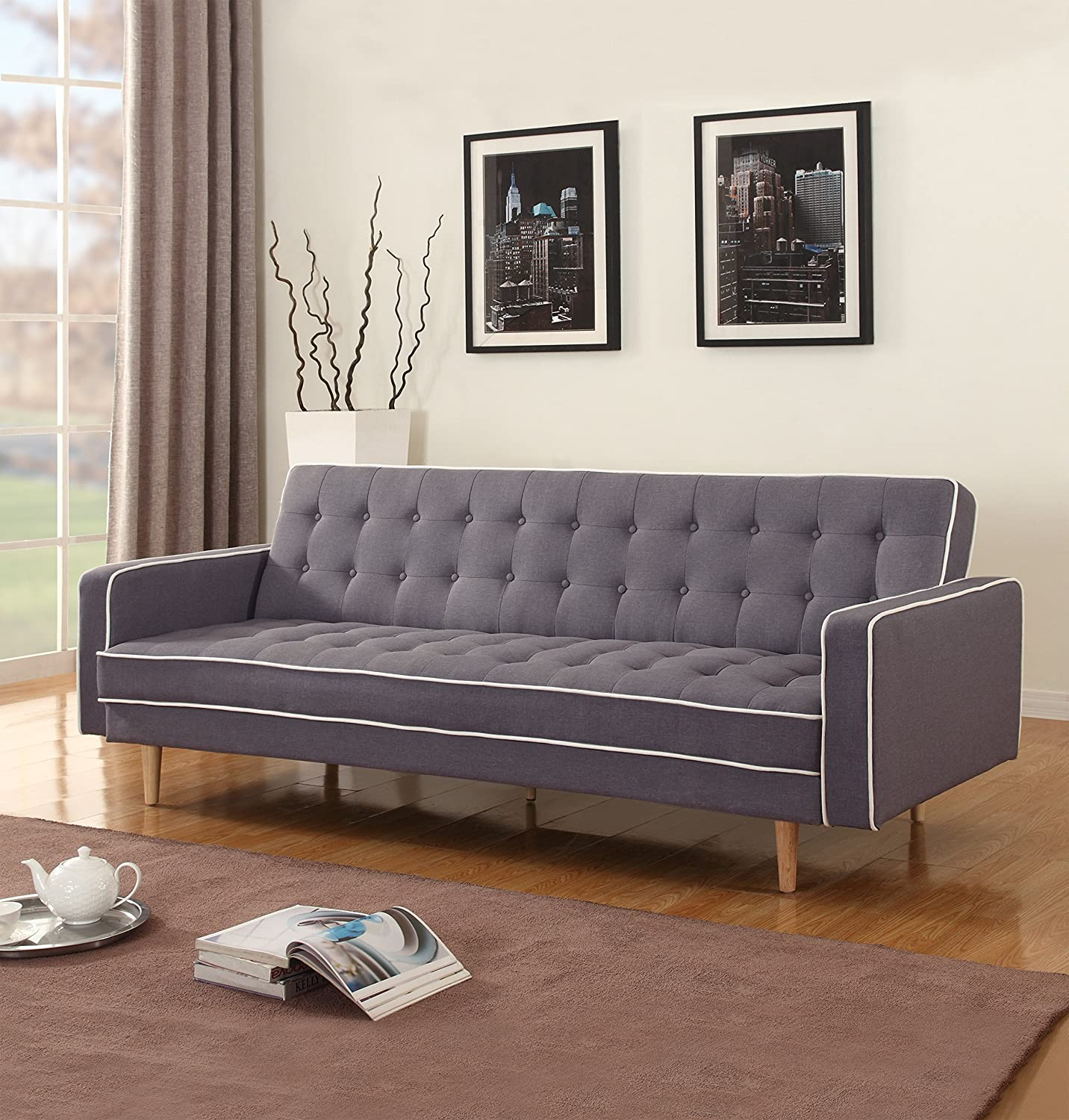 amazoncom midcentury modern two tone vintage linen sleeper futon sofa grey beige red light grey kitchen u0026 dining - Futon Sofa Beds