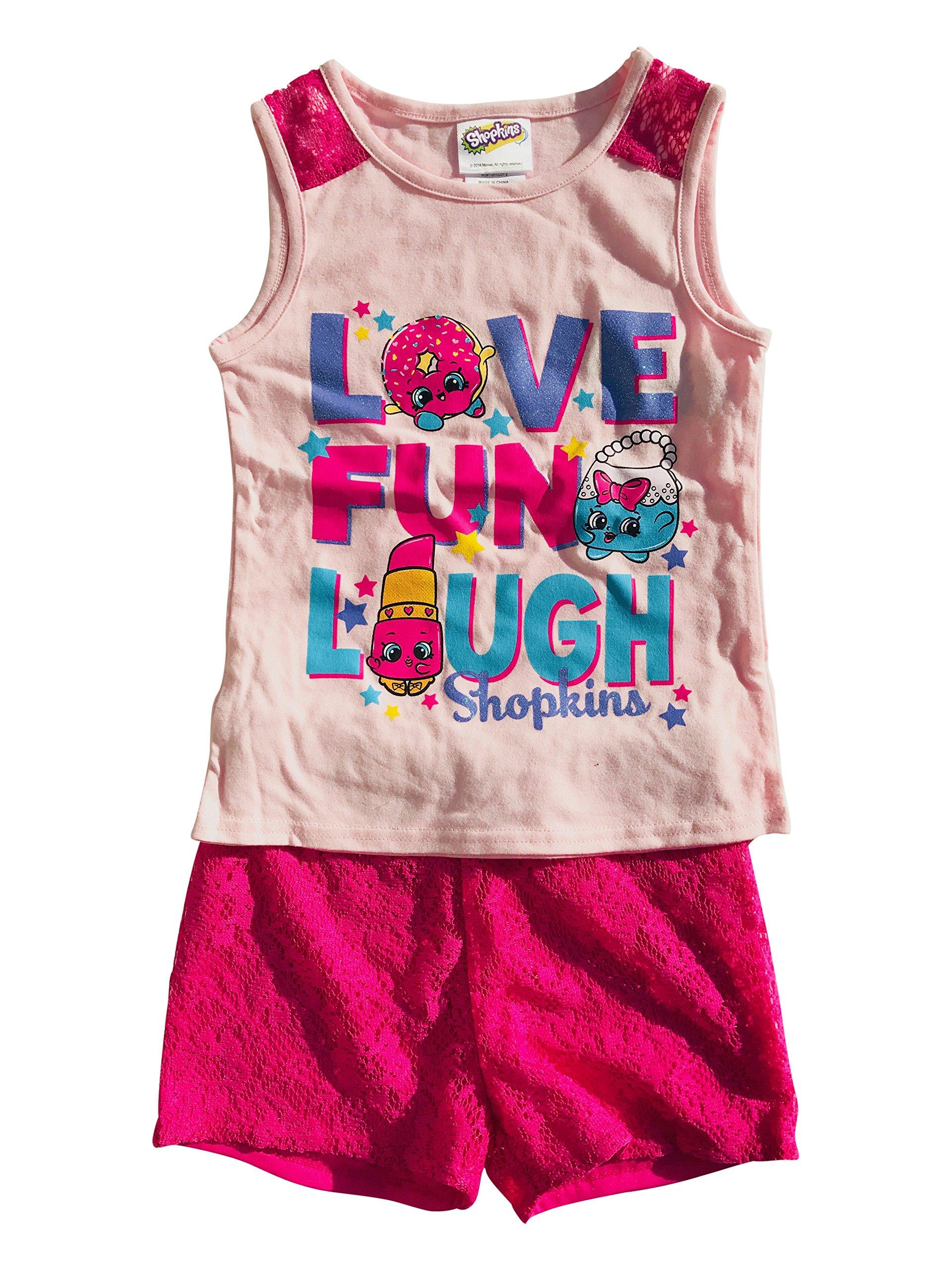 Shopkins ''Love Fun Laugh Tank w/Crochet Short Set Pink Size 5