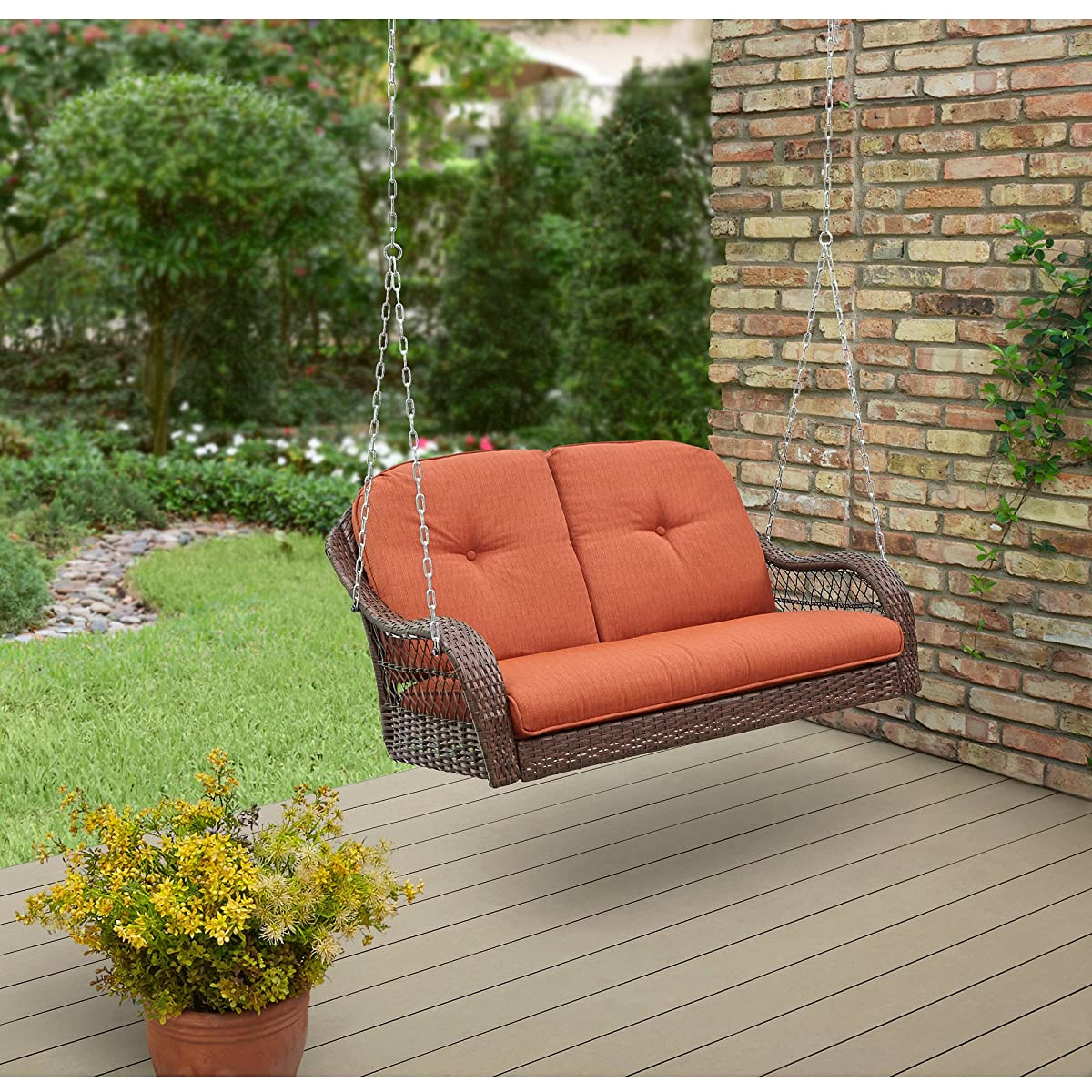 Better Homes and Garden Azalea Ridge Relax Carefree Comfortable Seat Powder Coating Steel Frame Polyester Fabrics Cushion Outdoor Wicker Swings, 2 Seats , Orange Brown