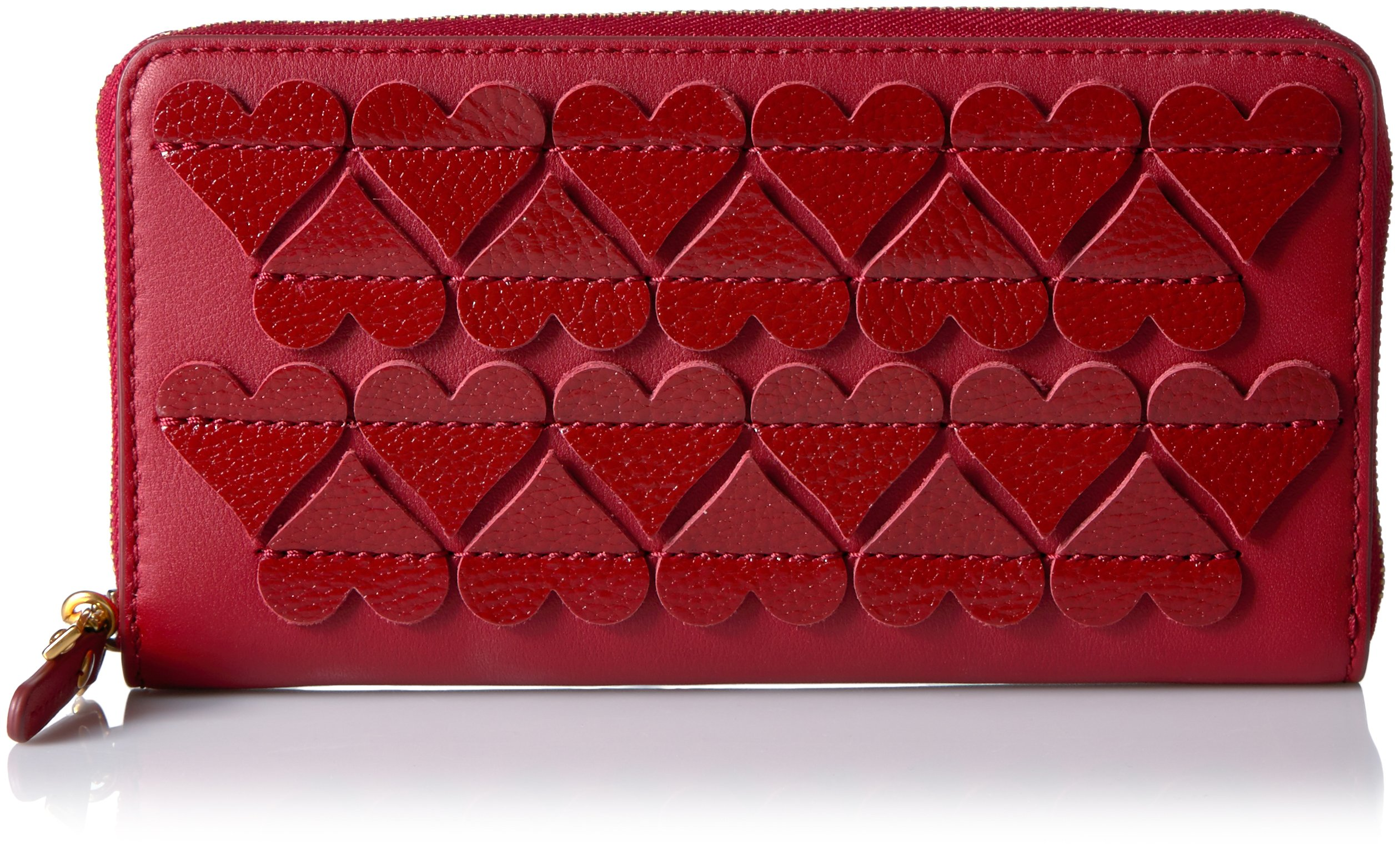 Stitched Hearts Standard Continental Wallet, Bisou Red, One Size