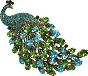4af734769f9 Gyn&Joy Vitage Style Crystal Large Peacock Feather Pin Brooch
